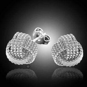 Sterling Silver Twist Knot Mesh Ball Ear Stud Ear